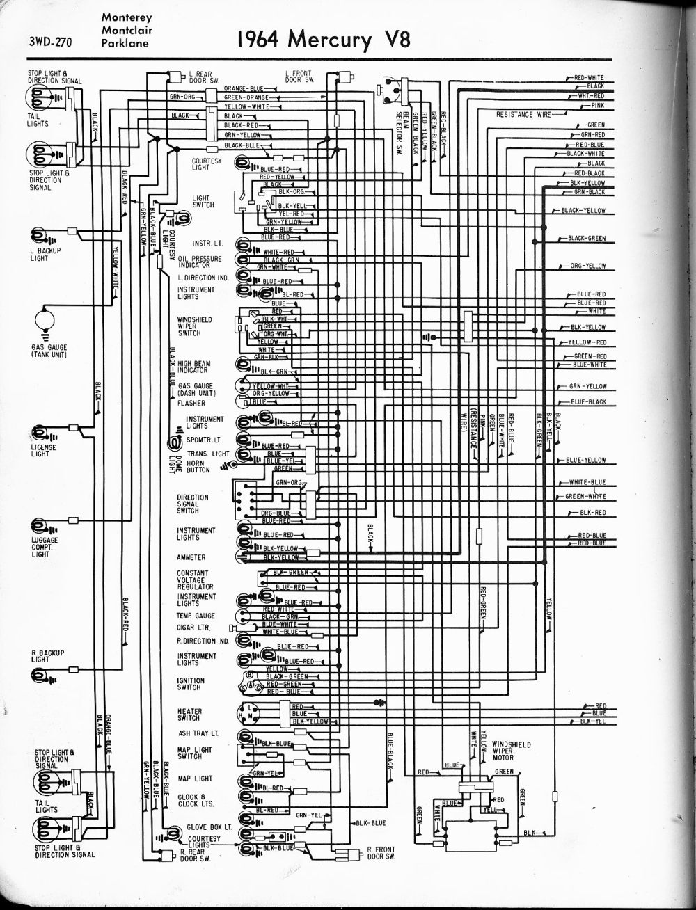 medium resolution of mercury wiring diagrams the old car manual project 1964 v8 monterey montclair parklane