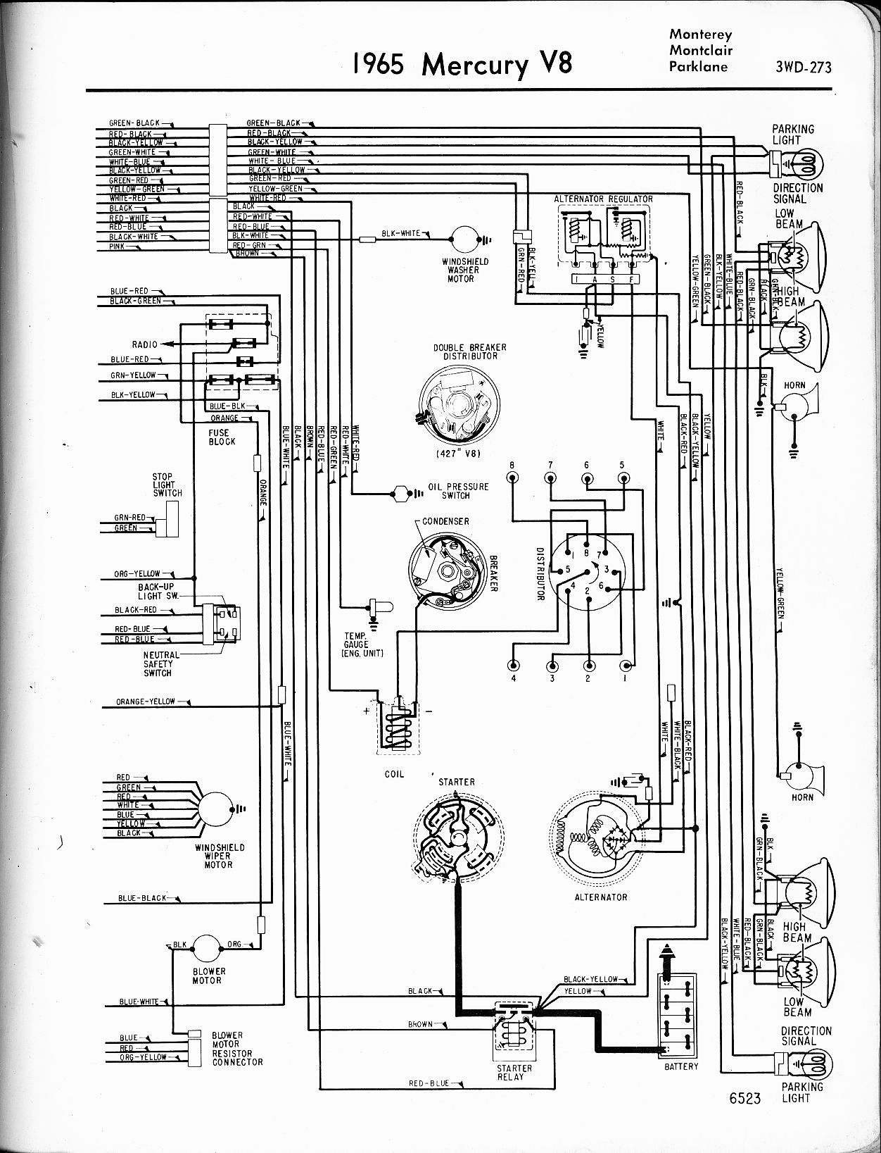 68 mercury cougar: wire diagram..the coil,water temp