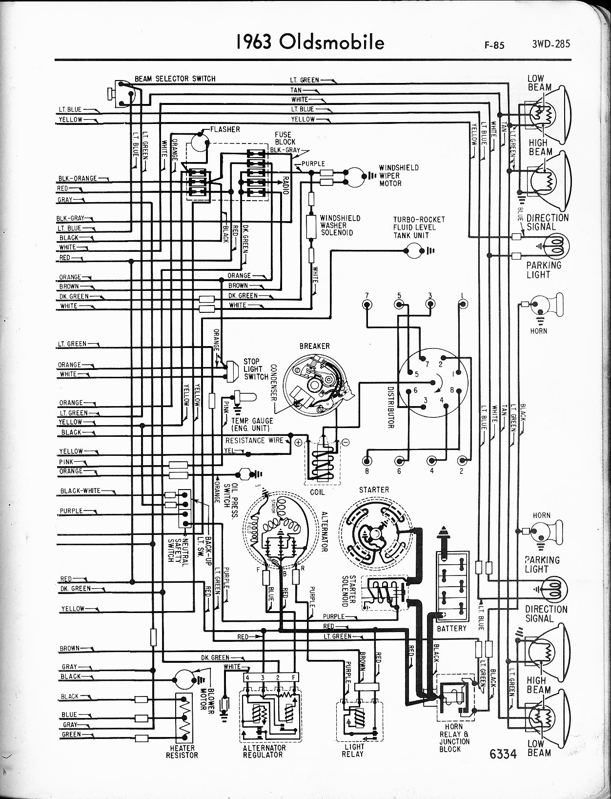 hight resolution of oldsmobile wiring diagrams the old car manual project1963 f 85 right page
