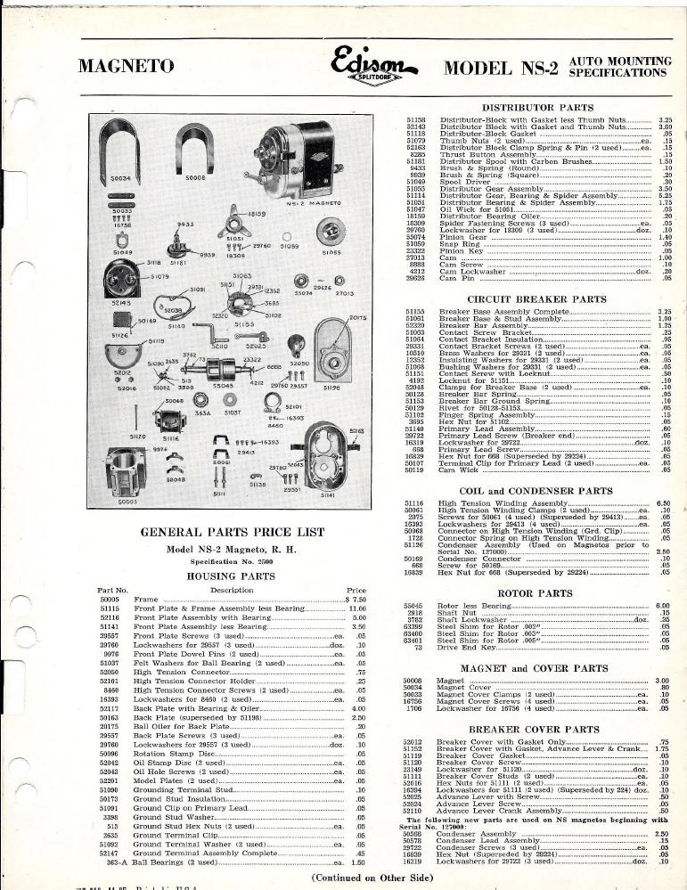 Edison Splitdorf NS-2 Magneto Parts List