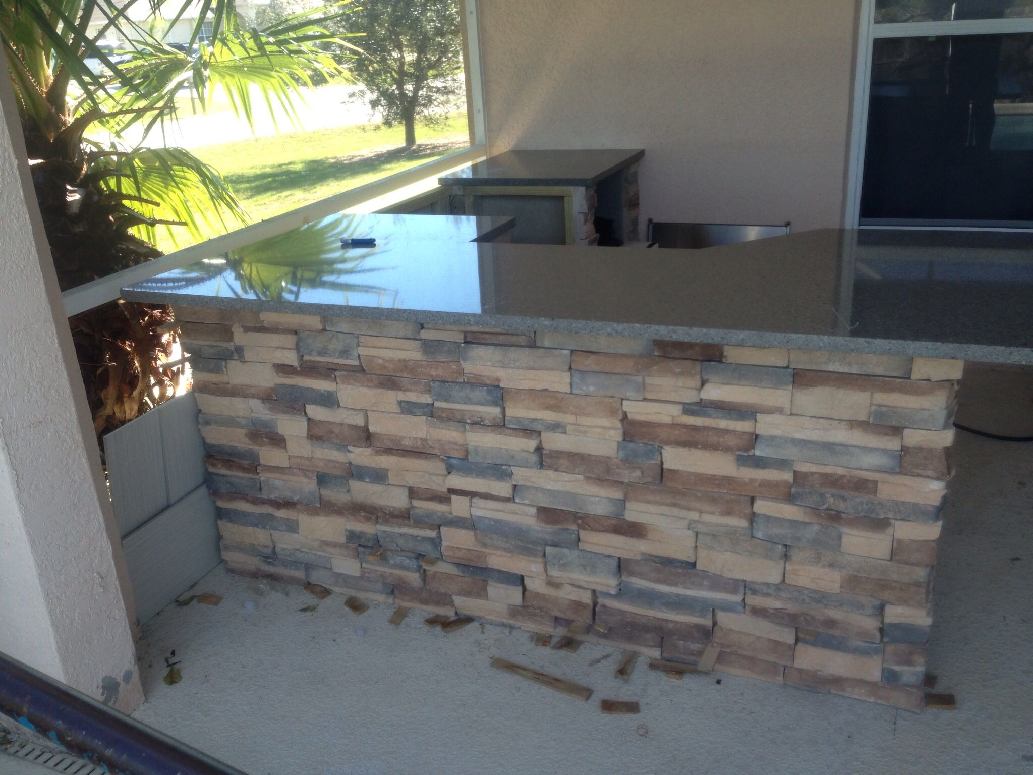 Outdoor Kitchen Installed on Existing Lanai  Olde Florida
