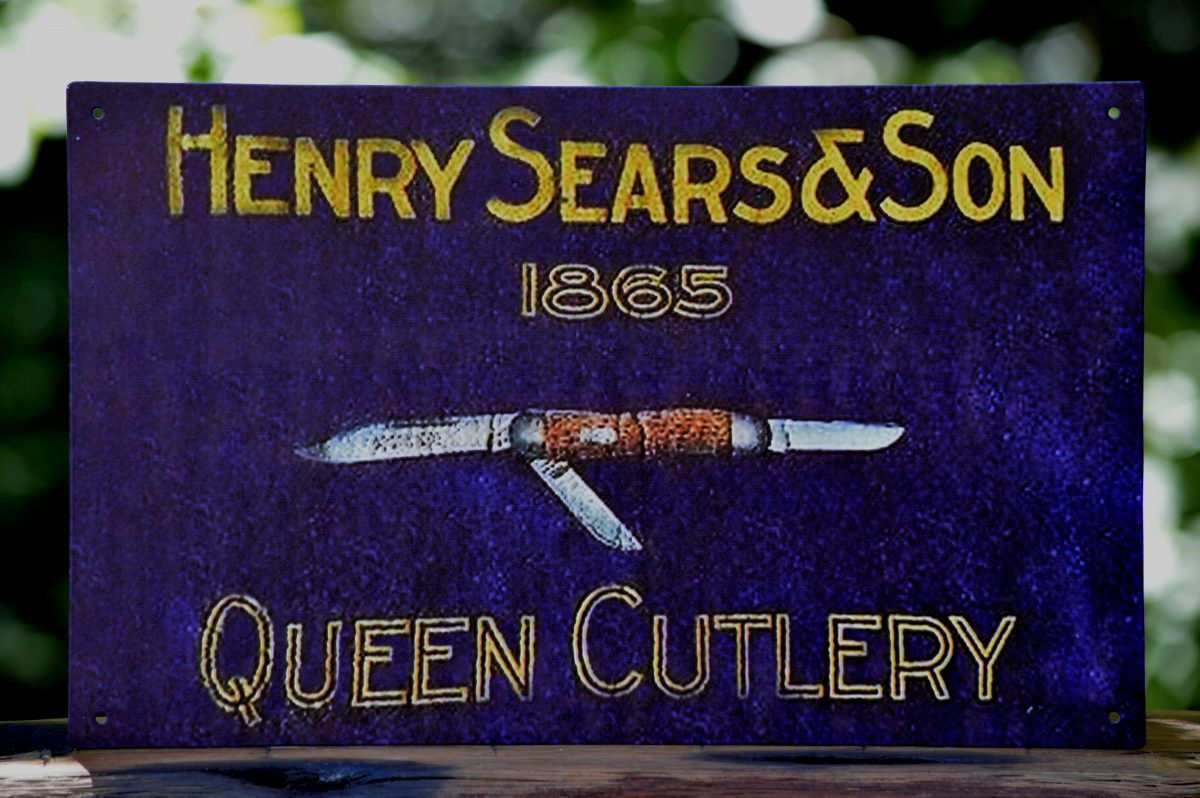 shun kitchen scissors white island with stools henry sears & son tin sign - knives for sale