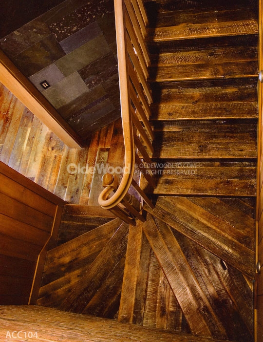 Reclaimed Wood Stair Parts Reclaimed Stair Treads Olde Wood | Distressed Wood Stair Treads | Oak Stair | Bullnose Manufacturing | Straight Edge Wood | White Oak | Heavy Timber Stair