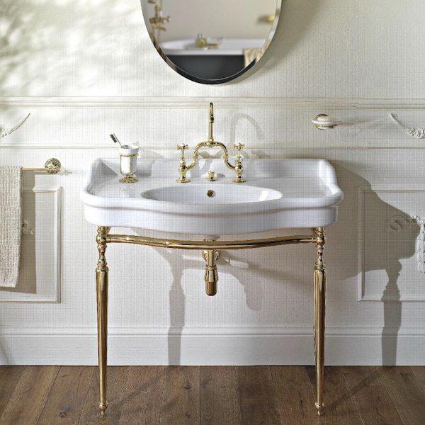 palladio 100cm console basin on metal wash stand