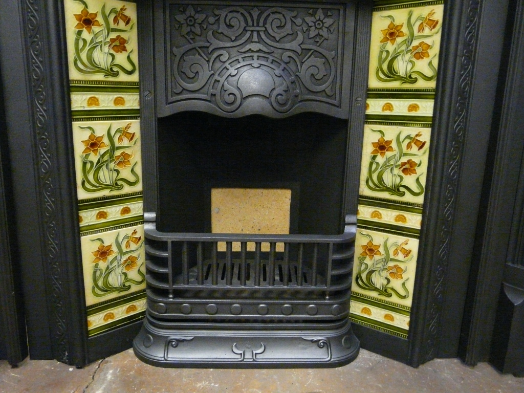 Antique Victorian Tiled Insert 221TI1150  Old Fireplaces