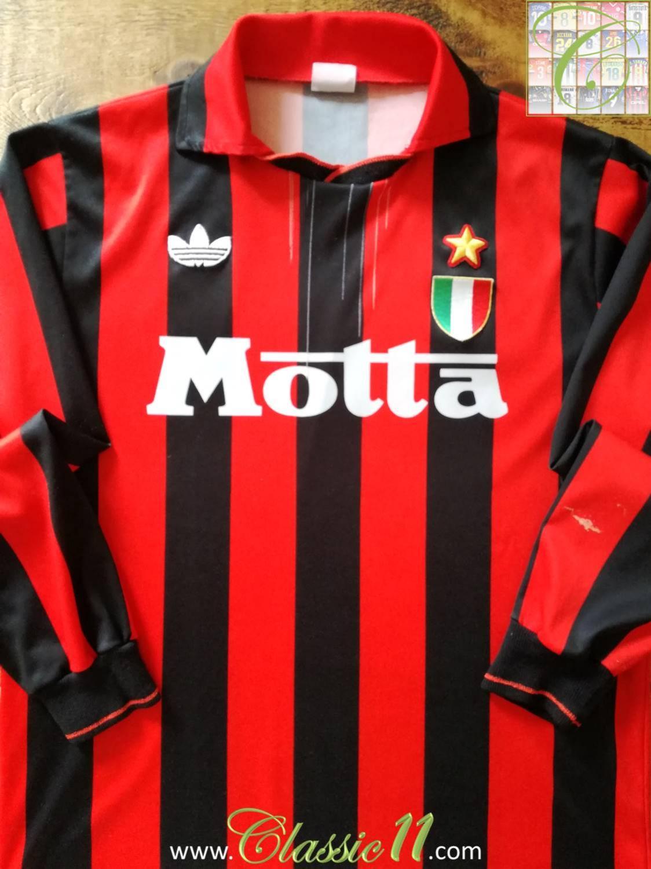 AC Milan Home Maillot de foot 1992  1993 Sponsored by Motta