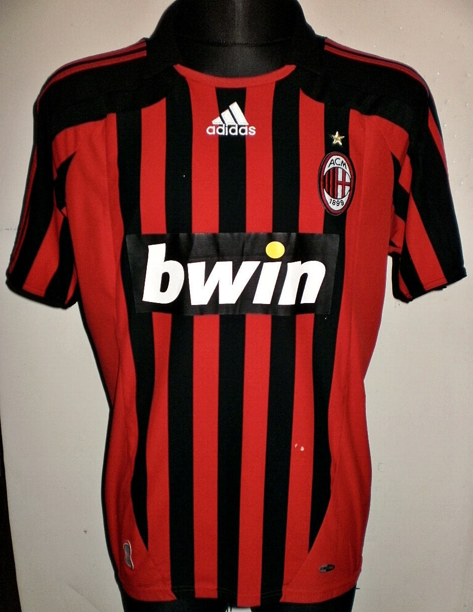 AC Milan Home Maillot De Foot 2007 2008 Sponsored By Bwin