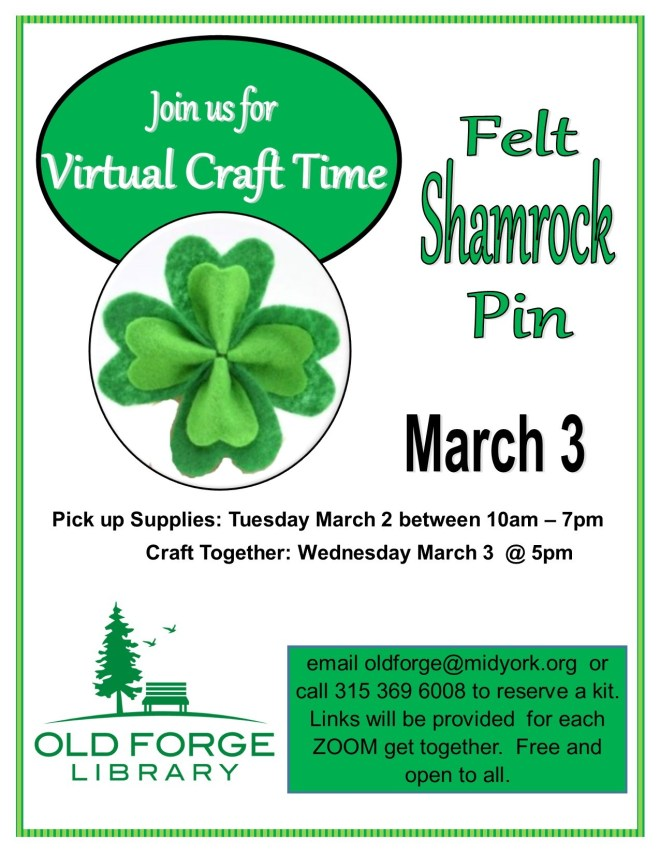 Virtual Craft Get Together ~ Felt Shamrock Pin