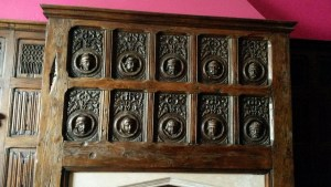 intricately carved oak panel