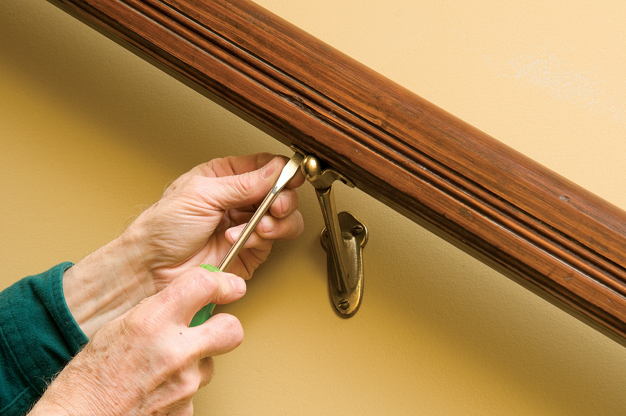How To Hang A Stair Rail Old House Journal Magazine | Attaching Handrail To Wall | Stair Parts | Brick | Wood | Staircase | Scr*W