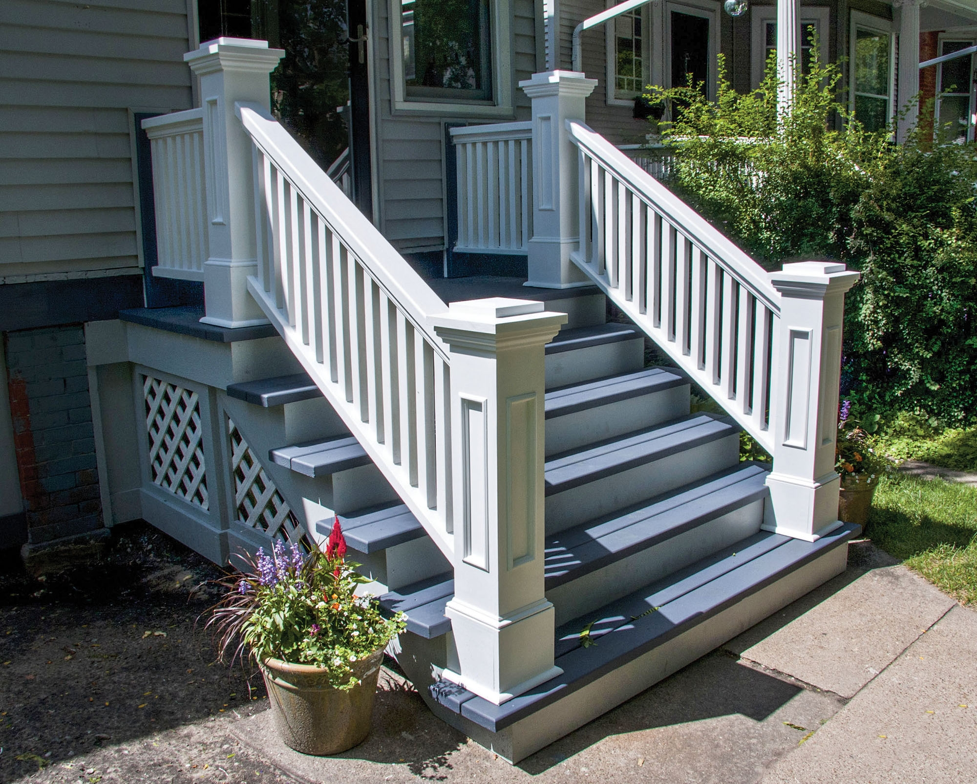 Graceful Stoops Entry Steps Old House Journal Magazine | Replacing Concrete Steps With Wood | Stringers | Stair Railing | Composite Decking | Pouring Concrete | Concrete Slab