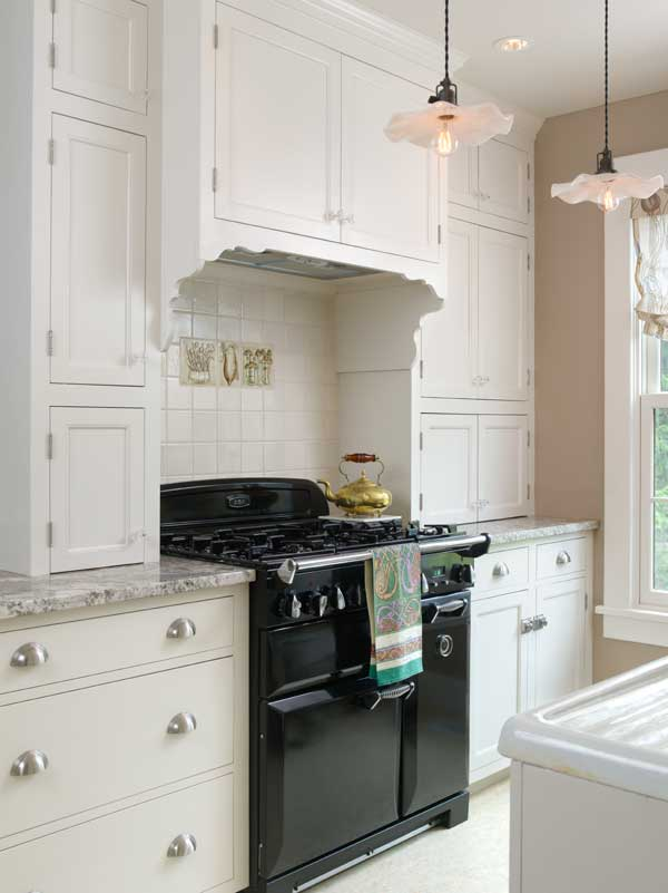 An Elegant White Kitchen in a Colonial Revival House  Restoration  Design for the Vintage