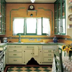 Kitchen Floors Hobart Equipment Photo Gallery Checkerboard Old House Journal Magazine Green And Cream Tiles Laid On The Diagonal Jazz Up A Depression Era Tudor