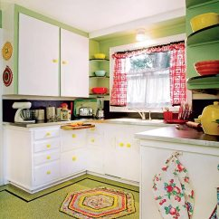 Kitchen Linoleum Retro Lighting The Best Flooring Choices For Old House Kitchens Journal A Floor With Confetti Pattern And Simple Border Is Cheerful Complement To