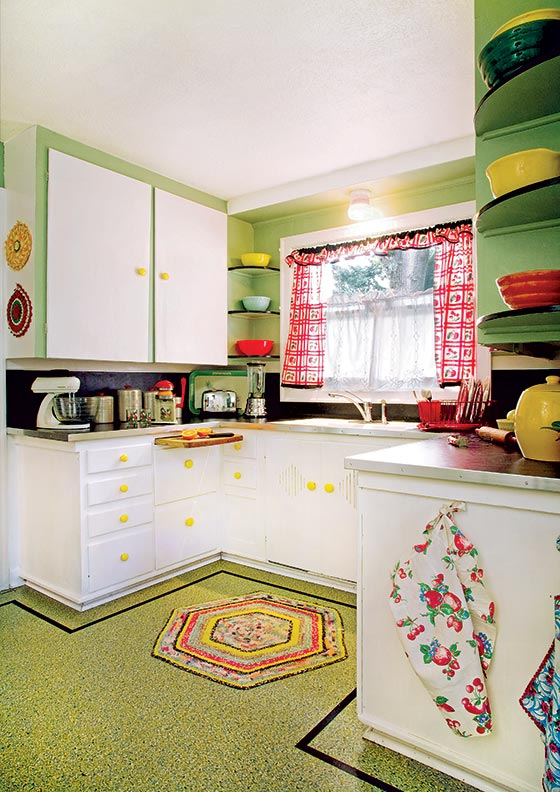 linoleum kitchen flooring milo's the best choices for old house kitchens journal a floor with confetti pattern and simple border is cheerful complement to