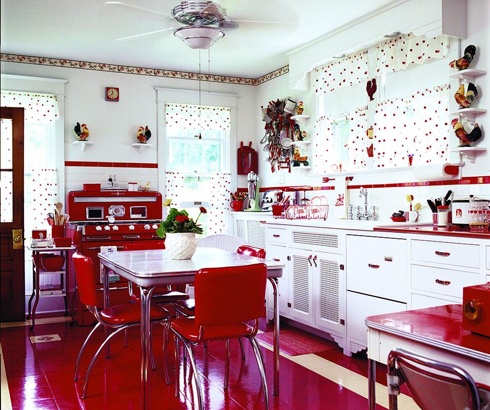 A MidCentury Kitchen in Red  Restoration  Design for