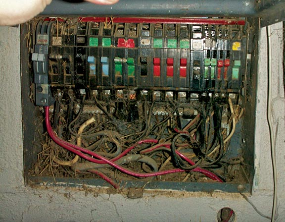 hight resolution of breaker panels with a jumble of old wires top need to be checked carefully