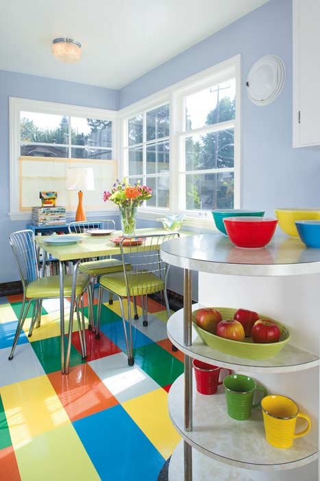 kitchen linoleum ideas on a budget for floors tile more old house journal the owner of 1947 mid century cottage painted and then varnished her