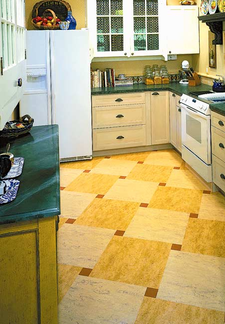 linoleum kitchen flooring average cabinet cost ideas for floors tile more old house journal a checkerboard floor from forbo has lots of movement