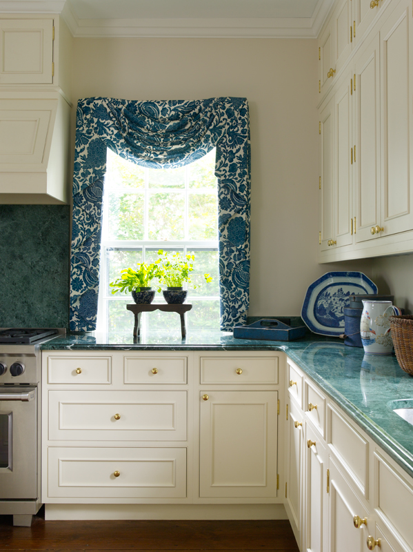 Blue And White Kitchen In Greek Revival - House