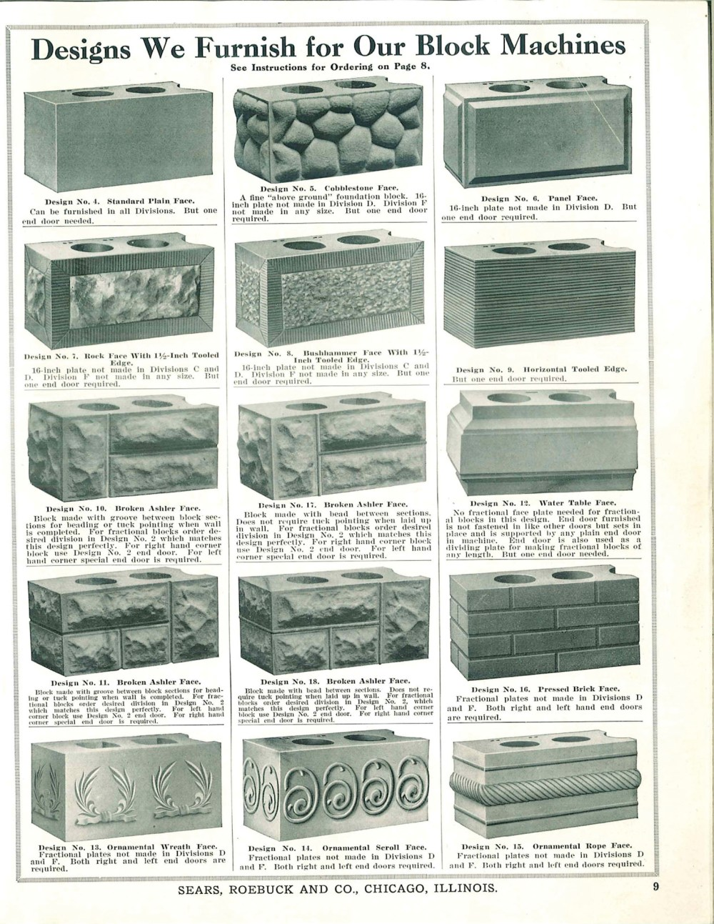 medium resolution of original patterns for rusticated brick sold through a ca 1908 sears roebuck catalog