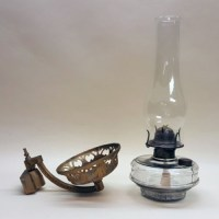 Kerosene lamp with wall bracket