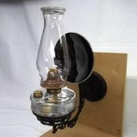 Glass kerosene lamp and rare bracket - Old Lamps & Things, LLC