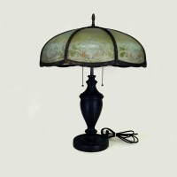 Large slag glass table lamp - Old Lamps & Things, LLC