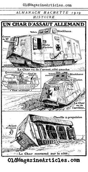 GERMAN A7V TANK DIAGRAM 1918,GERMAN WW1 TANK,WW1 ARMOR,WW1