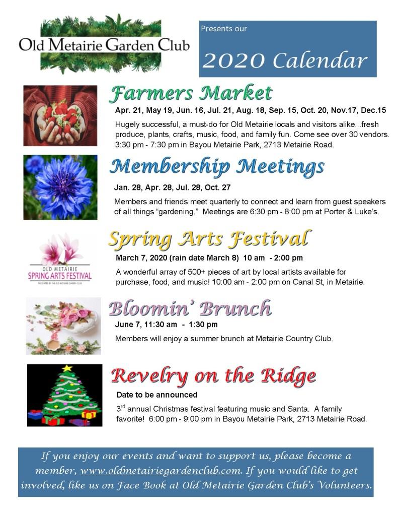 Old Metairie Garden Club Annual Calendar 2020