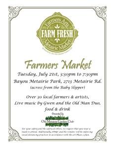 Farmers Arts Metairie Market July, 2020
