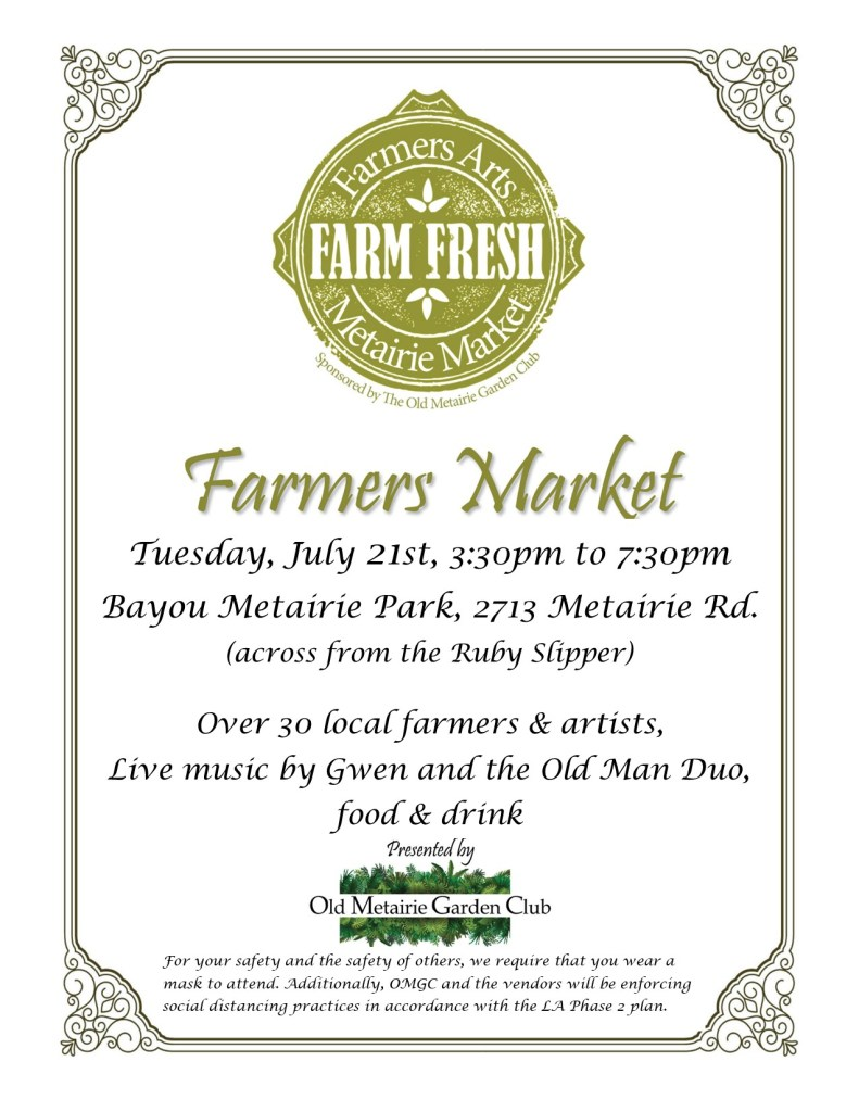 Farmers Arts Metairie Market July 21, 3:30 to 7:30 PM