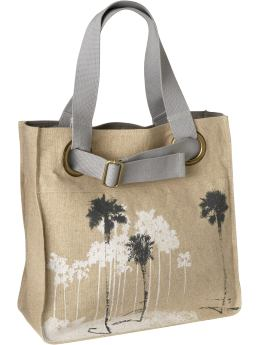 Women: Women's Graphic Linen-Blend Totes - Gray