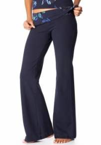 Women: Women's Fold-Over Yoga Pants - Dark Night