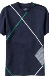 Men: Men's Tall Argyle Side-Seam Tees - Dark Sea Blue