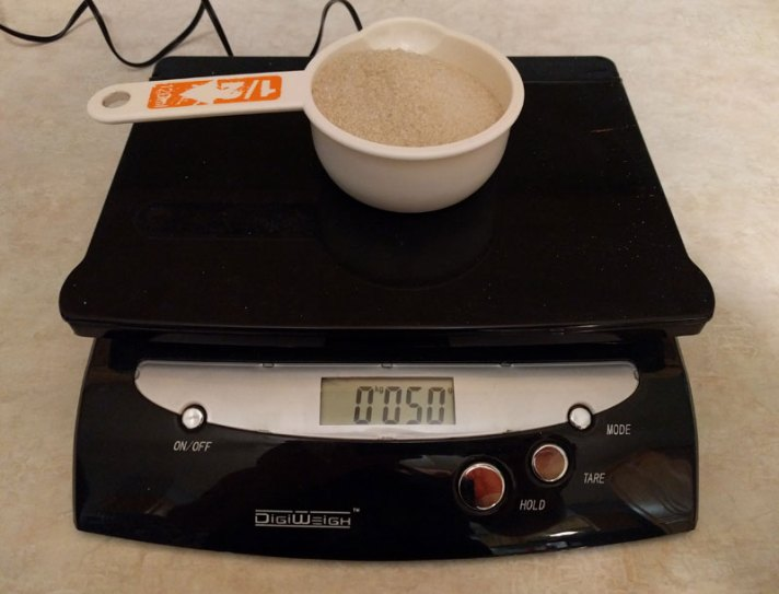 Weighing sugar