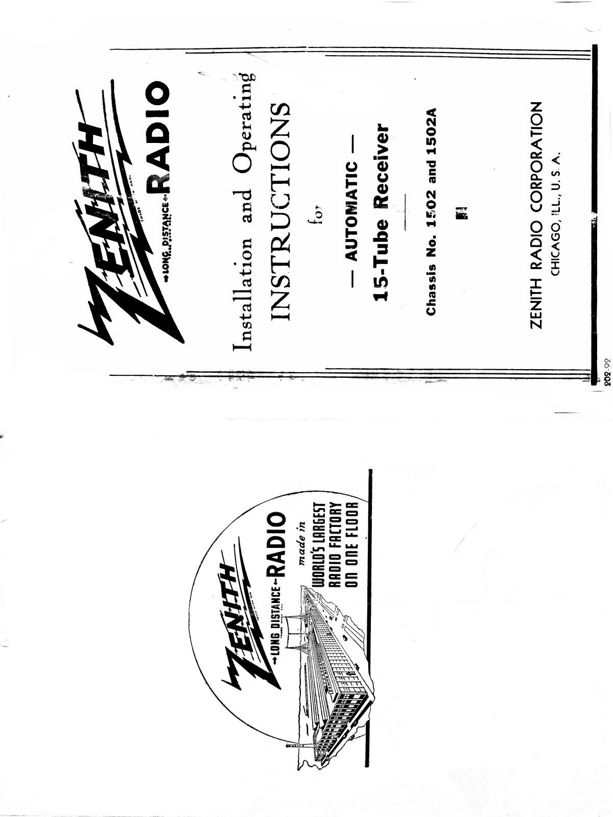 Zenith Chassis 1502 Owner's Manual