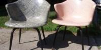 Super Swank Pair of 1950s Fiberglas Arm Chairs by Douglas