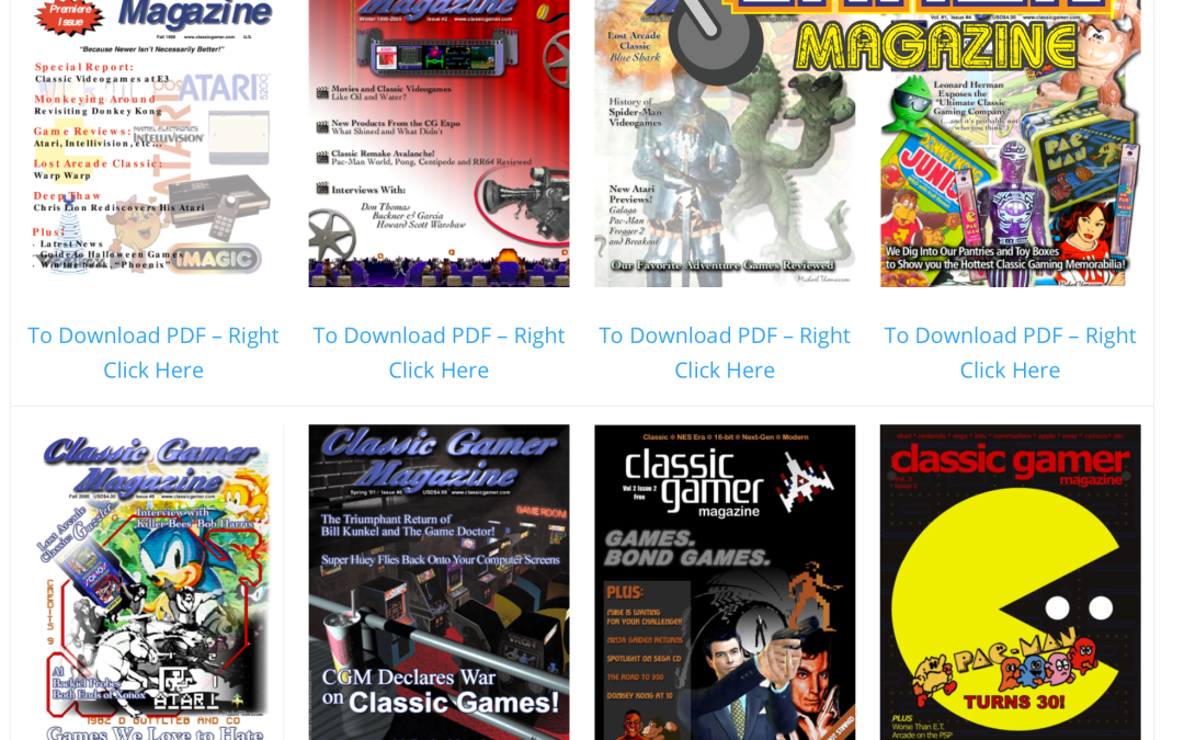 Classic Gamer Magazine Now Available at Old School Gamer!
