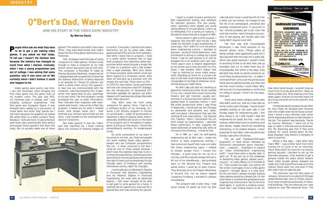 Q*Bert's Dad, Warren Davis and His Start In the Video Game Industry – By Warren Davis