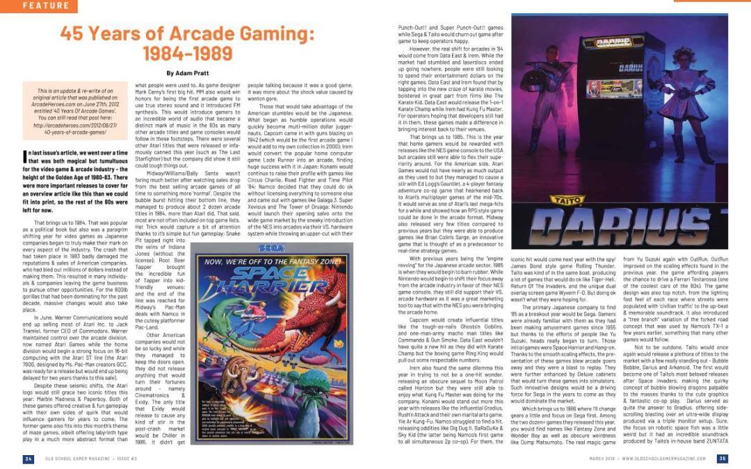 45 Years of Arcade Gaming: 1984-1989 By Adam Pratt
