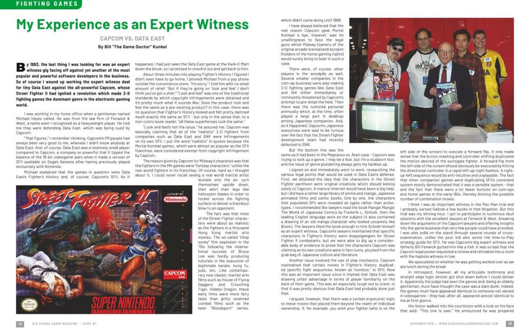 """My Experience as an Expert Witness CAPCOM VS. DATA EAST – By Bill """"The Game Doctor"""" Kunkel"""