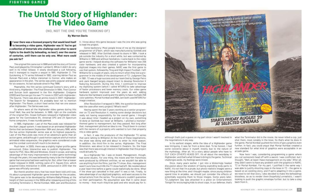The Untold Story of Highlander: The Video Game (No, not the one you are thinking of)-  By Warren Davis