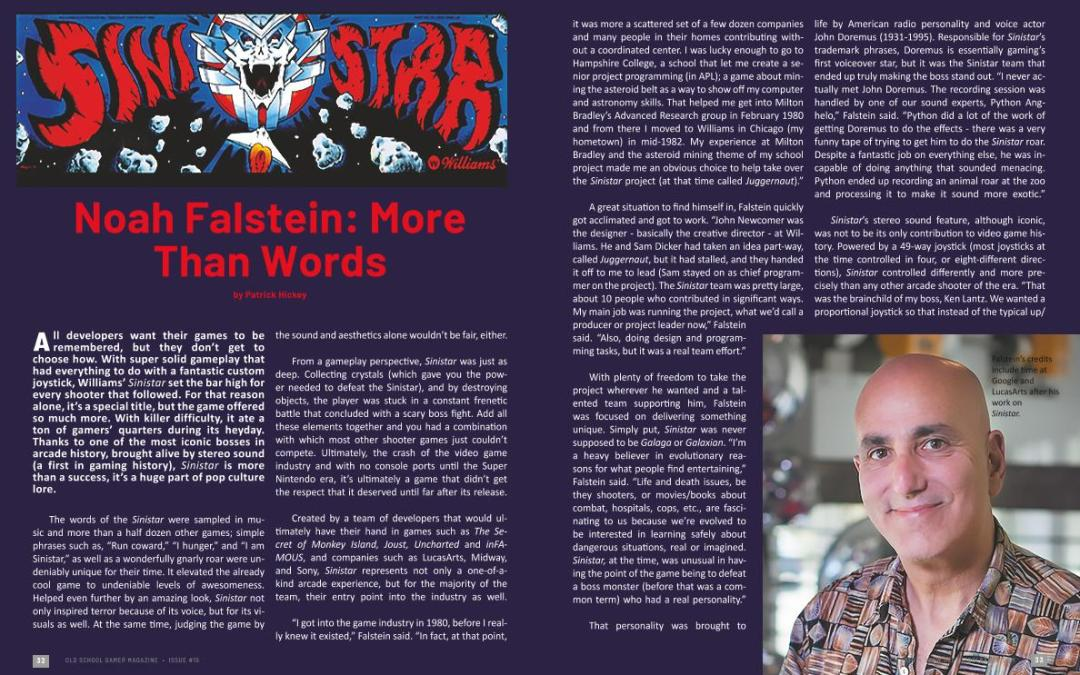 Sinistar: Noah Falstein: More Than Words – By Patrick Hickey