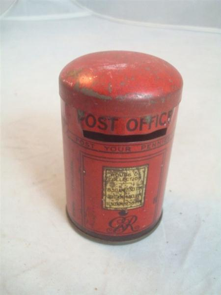 Old Shop Stuff  OldpostboxmoneyboxtinGR for sale