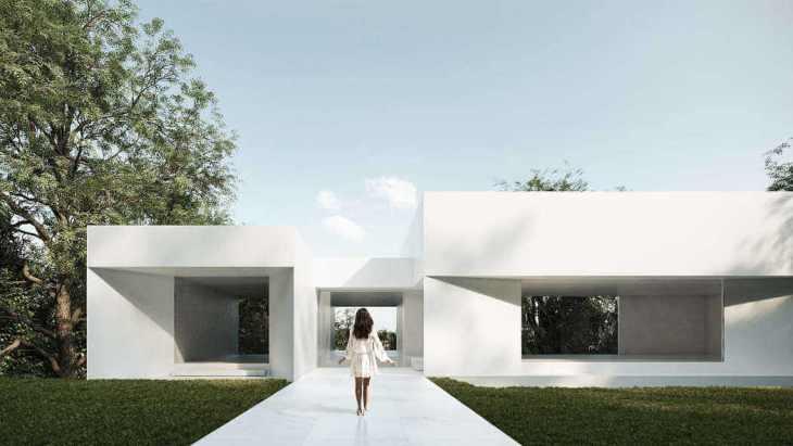 Entrada de casa minimalista arquitectura