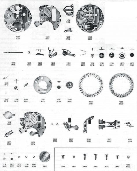 Omega 1250 watch parts