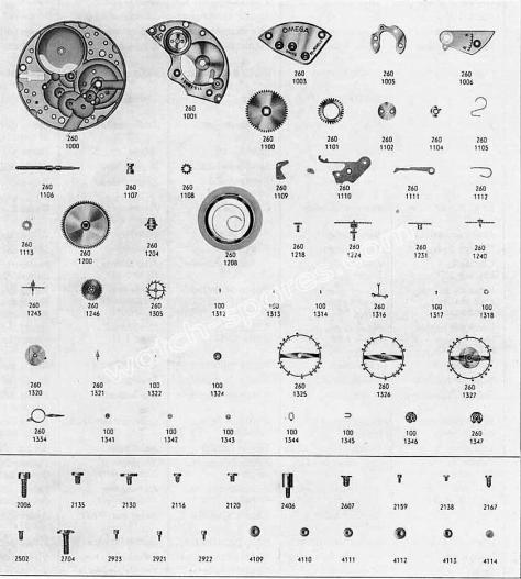 Omega 284 watch parts