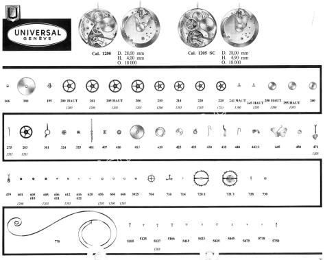Universal 1200 watch movements watch spare parts
