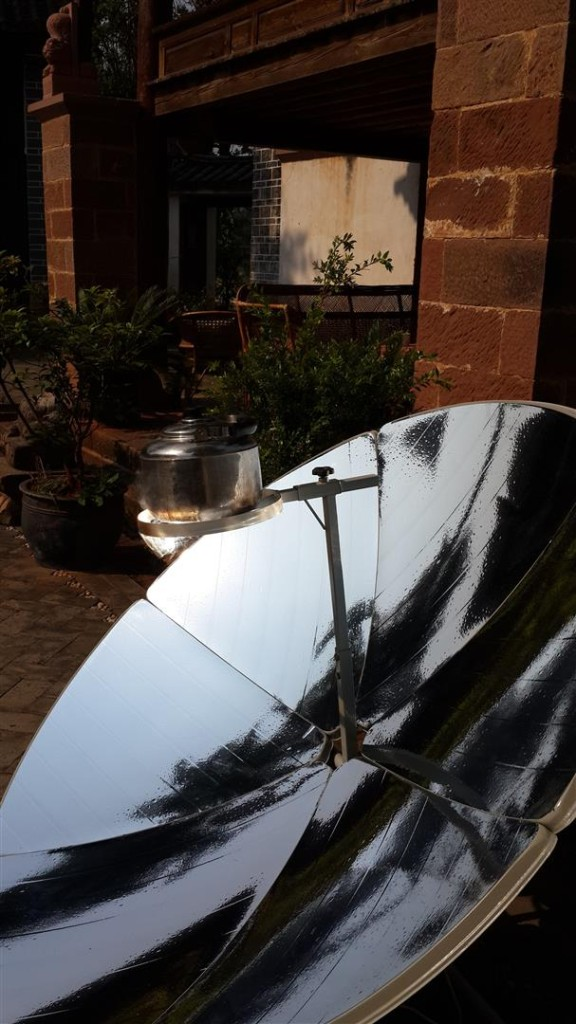 Solar cooker in the courtyard of Shaxi Old Theatre Inn, responsible Yunnan travel